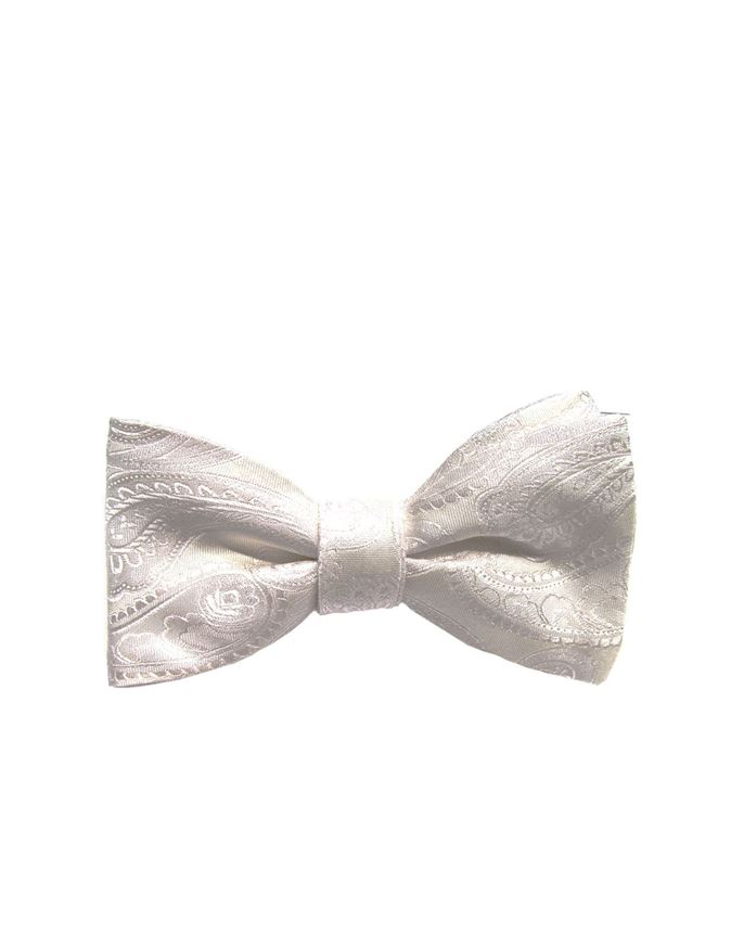 Picture of Hemley Paisley Ivory White Bow Tie
