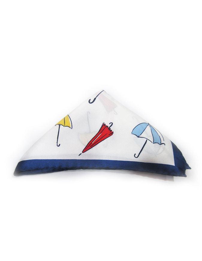 Picture of Hemley White Umbrella Print Pocket Square