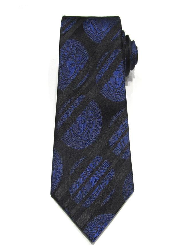 Picture of Versace Blue Medusa Black Silk Tie