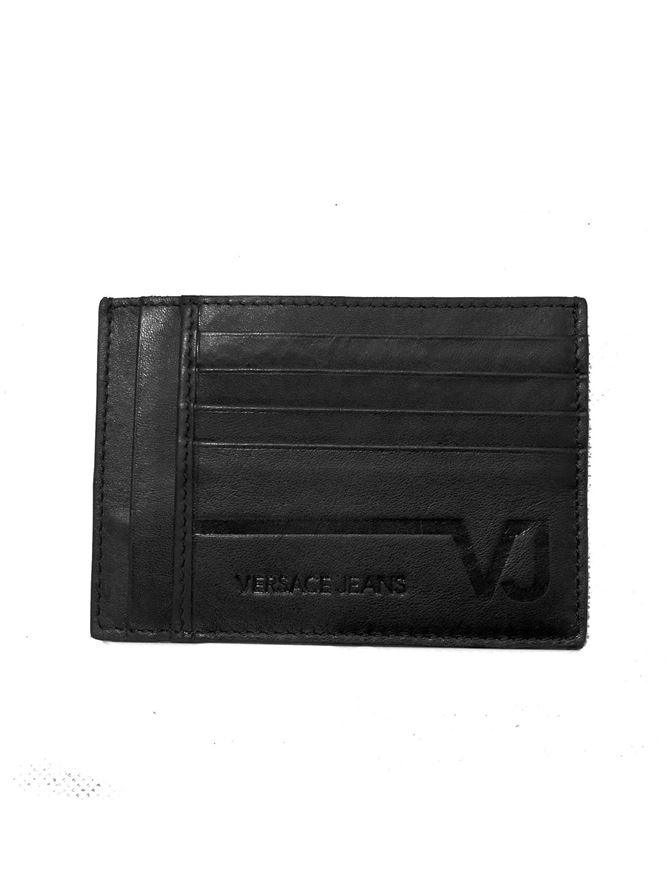 Picture of Versace Jeans Black Calf Leather Card Holder