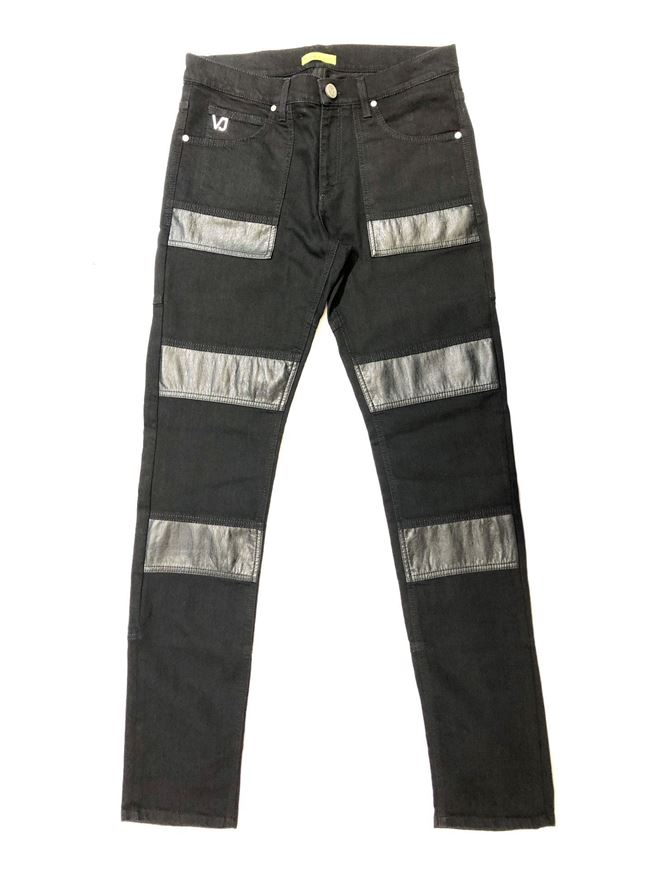 Picture of Versace Jeans Pleather Panel Black Denims