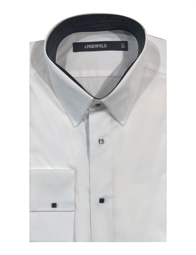 Picture of Lagerfeld White Cotton Dom Button Shirt