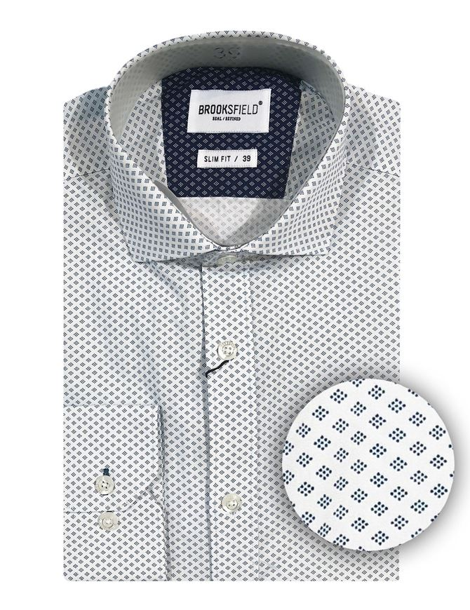 Picture of Brooksfield White Geo Dots Slim Shirt