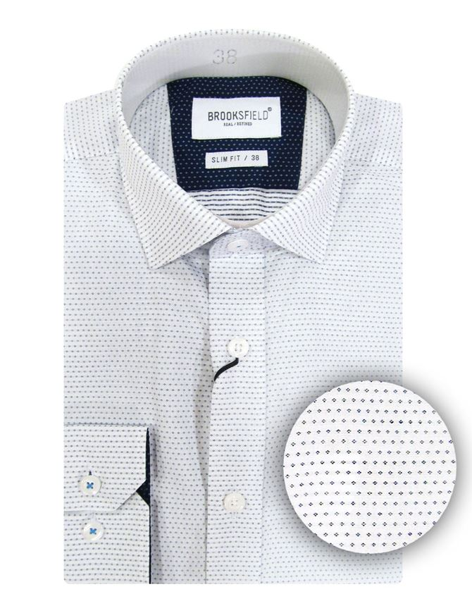 Picture of Brooksfield Dotted Dobby White Slim Shirt