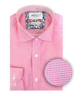 Picture of Brooksfield Pink Micro text Slim Shirt