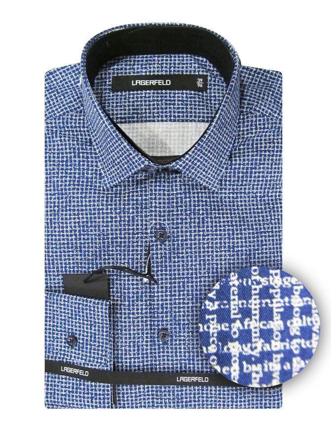 Picture of Lagerfeld Word-Check Slim Shirt