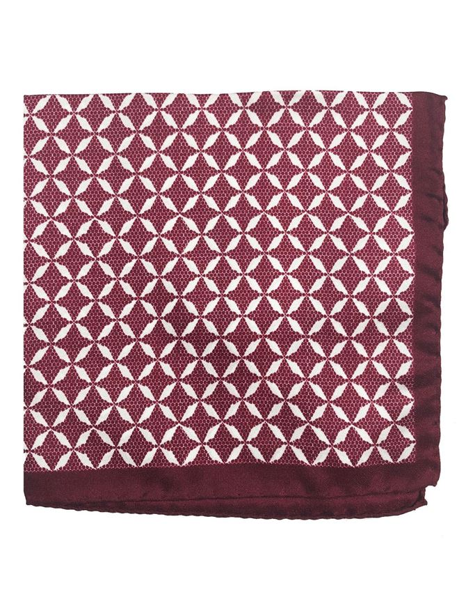 Picture of Ted Baker Red Geometric Print Pocket Square