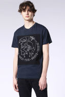 Picture of Diesel Navy Mohawk Print T-shirt