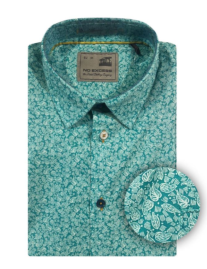 Picture of No Excess Leaf Print S/S Shirt