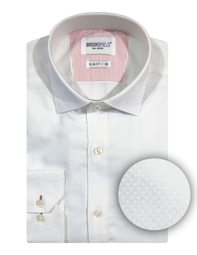 Picture of Brooksfield White Diamond Jacquard Shirt