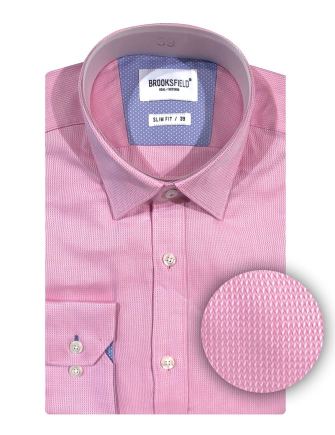 Picture of Brooksfield Pink Zigzag Weave Shirt