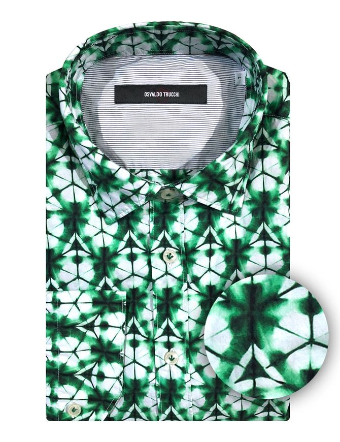 Picture of Osvaldo Trucchi Green Kaleido Patterned Shirt