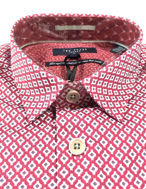 Picture of Ted Baker Geometric Diamond Print Red Cotton Slim Shirt