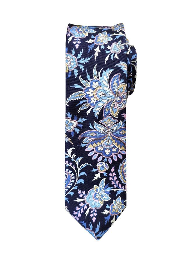 Picture of Hemley German Made Floral Paisley Skinny Silk Tie