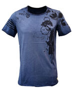Picture of Gaudi Rock Print Blue V-Neck Tshirt