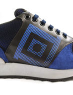 Picture of Versace Greek Motif Print Sneakers in Navy