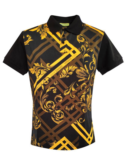 Picture of Versace Baroque Print Polo in Gold