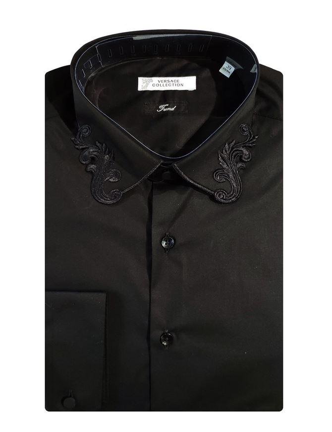 Picture of Versace Fancy Collar Black Cotton Shirt