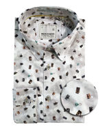 Picture of No Excess Camera Print Shirt in White