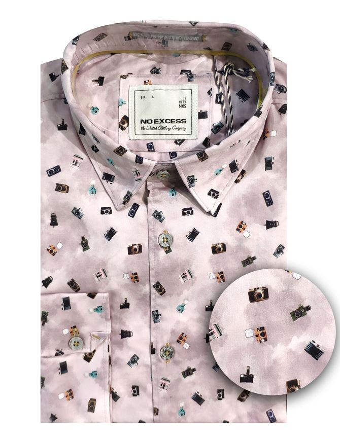 Picture of No Excess Camera Print Shirt in Pink