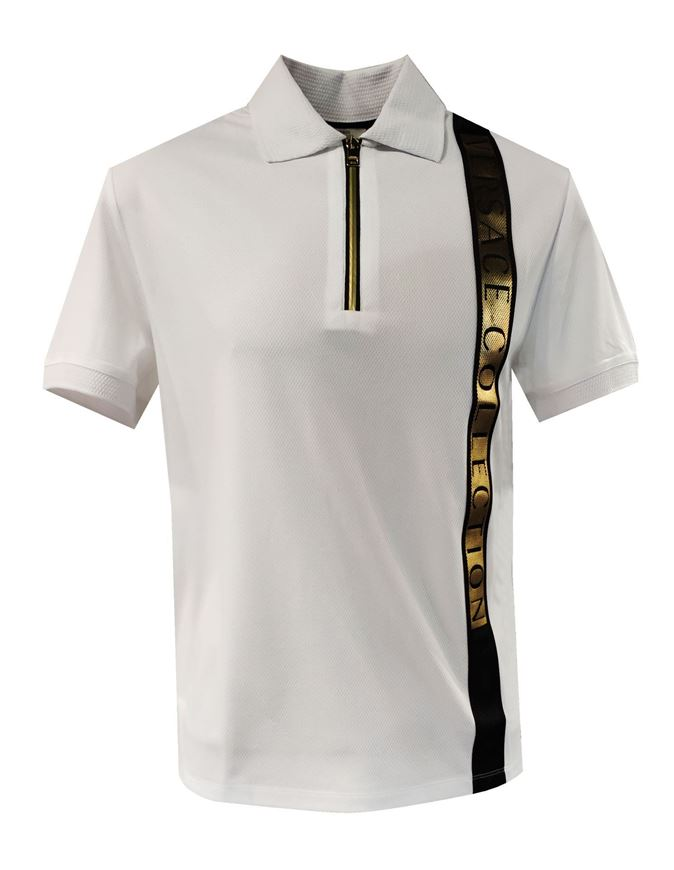 Picture of Versace Gold Logo Tape Polo
