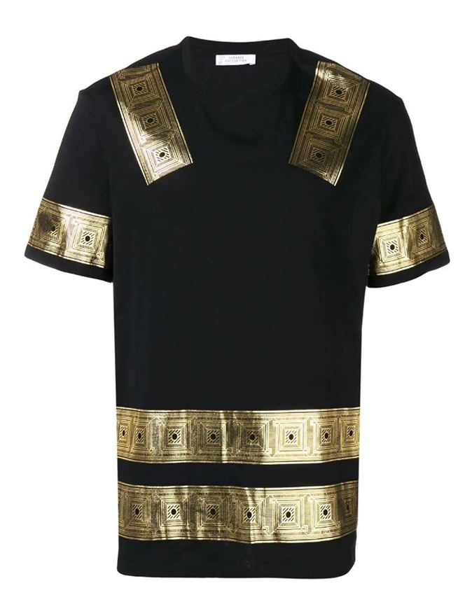 Picture of Versace Greek Tape Black T-shirt