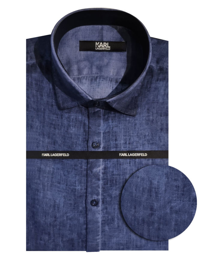 Picture of Karl Lagerfeld Linen Navy Shirt