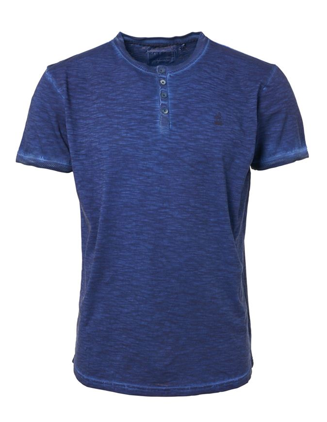 Picture of No Excess Blue Dye Wash Button Tee