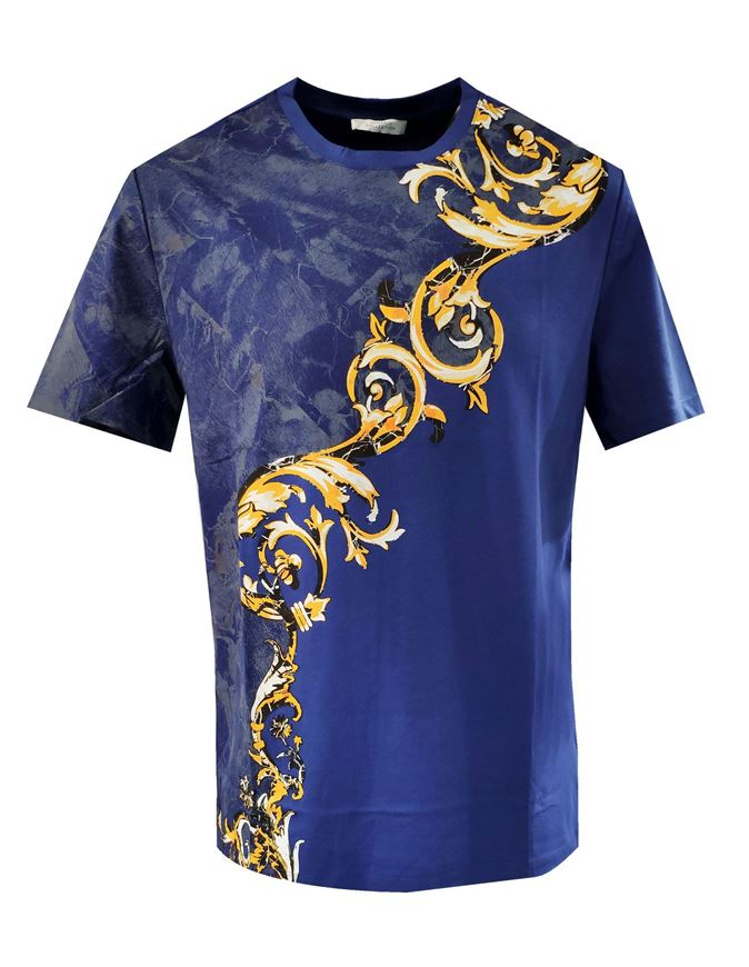 Picture of Versace Baroque Print Blue T-shirt