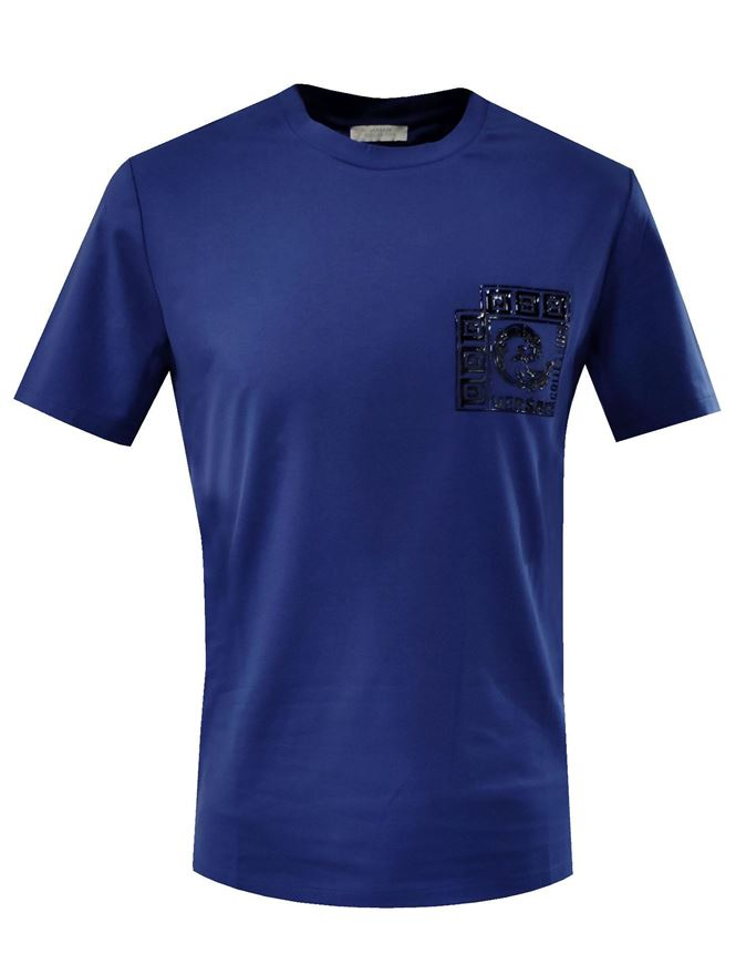 Picture of Versace Logo Badge Blue T-shirt