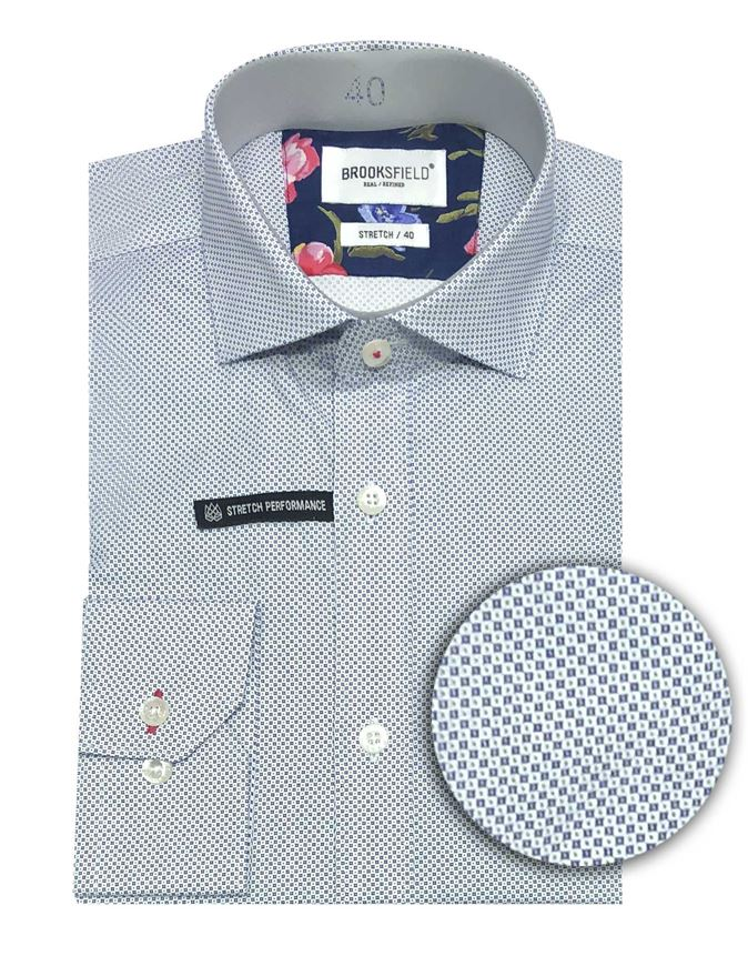Picture of Brooksfield Navy Circle stretch Shirt