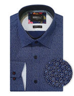 Picture of Brooksfield Navy Paisley Print Luxe Shirt