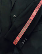 Picture of Versace Red Logo Tape Stretch Black Suit