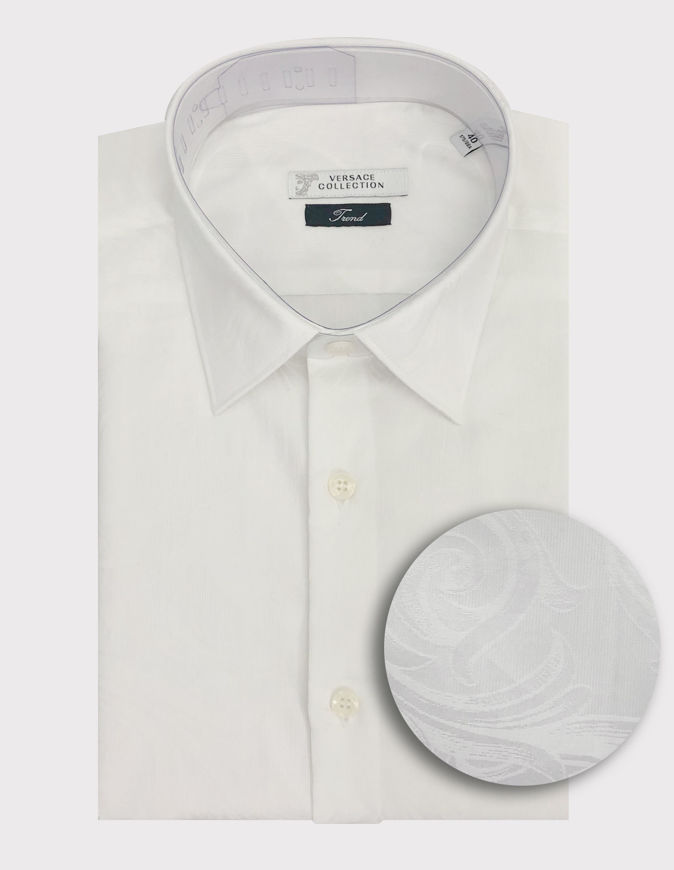 Picture of Versace Baroque Jacquard White L/S Shirt