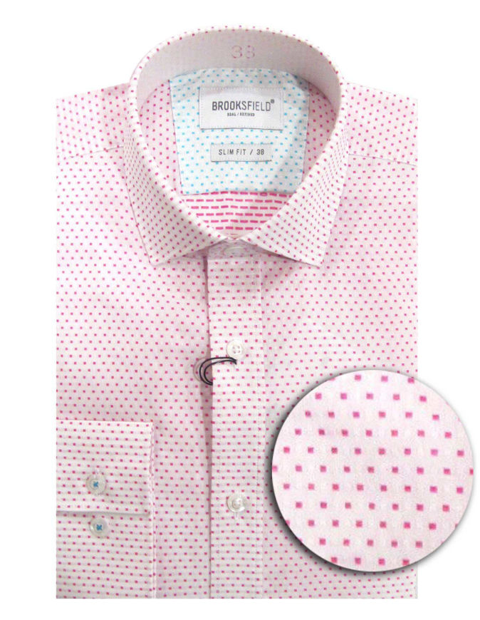 Picture of Brooksfield Pink Dobby Slim Shirt