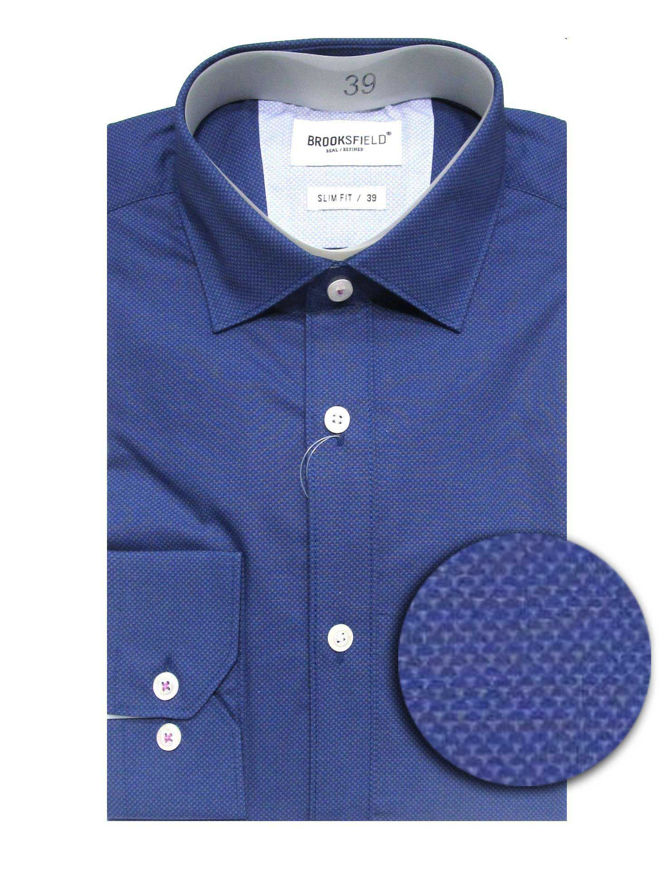 Picture of Brooksfield Navy Mini Scale Slim Shirt