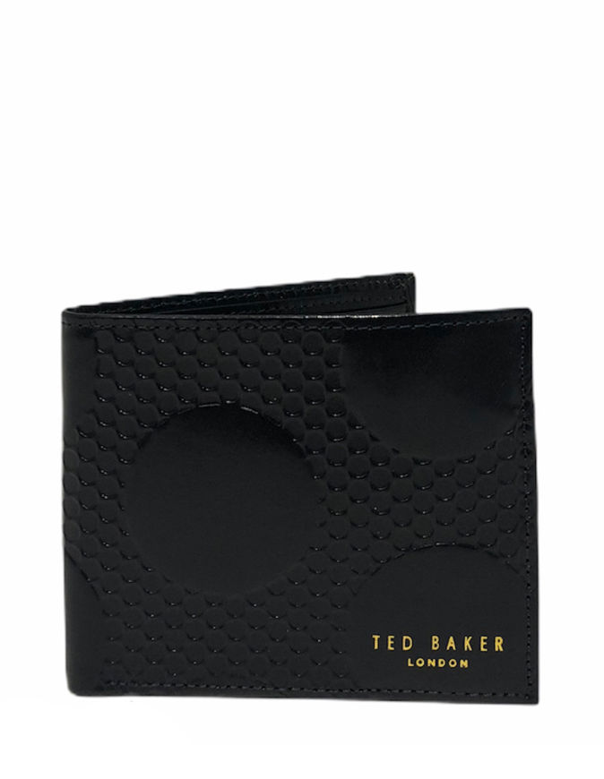 Picture of Ted Baker Black Spot Embossed Leather Bifold Wallet