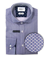 Picture of Brooksfield Feather Pattern Blue Stretch Real Shirt