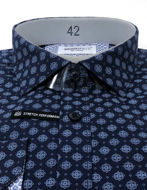 Picture of Brooksfield Motif Navy Stretch Real Shirt