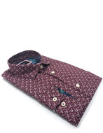Picture of Brooksfield Wine Floral Print Luxe Shirt