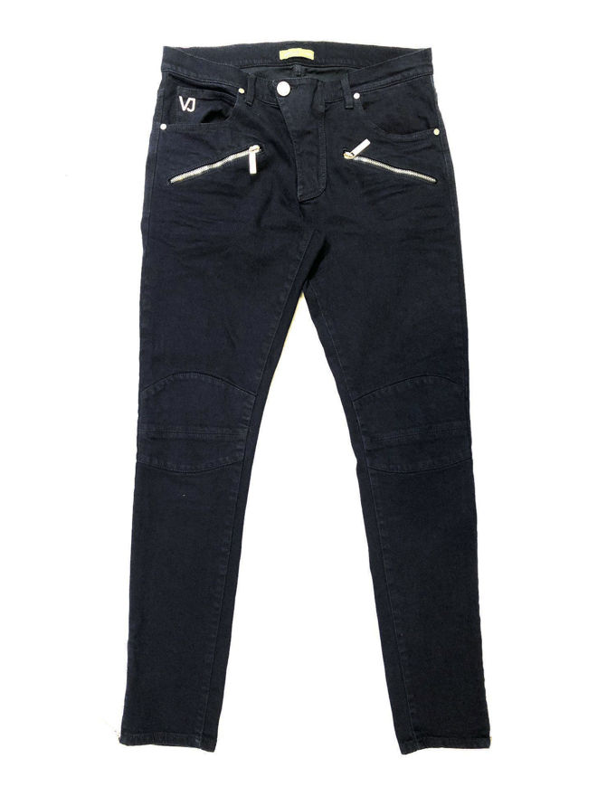 Picture of Versace Jeans Skinny Zip Details Navy Denims