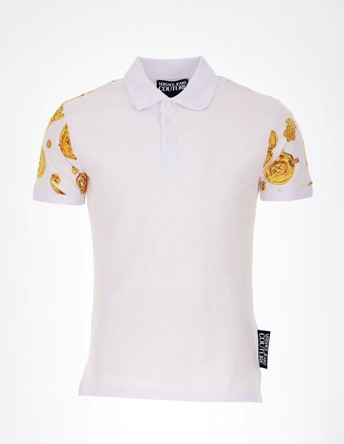 Picture of Versace Jewel Baroque White Polo