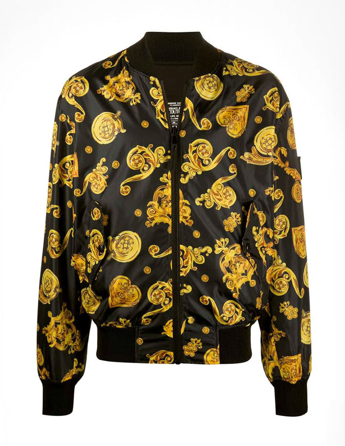 Picture of Versace Black & Gold Jewel Baroque Reversible Bomber Jacket