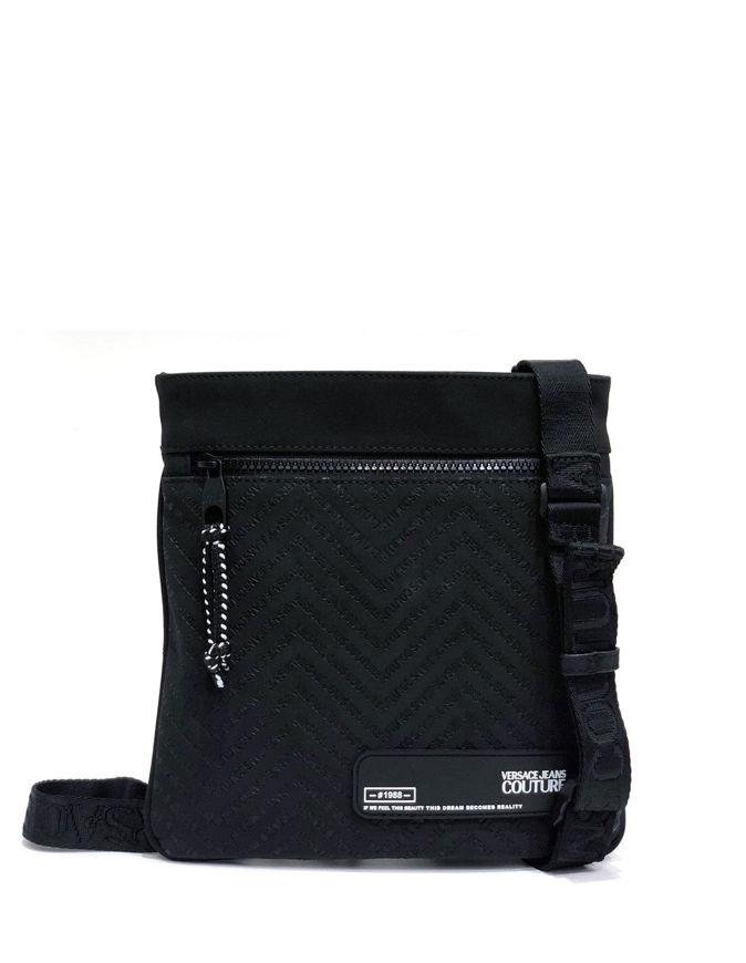 Picture of Versace Chevron Logo Black Messenger Bag