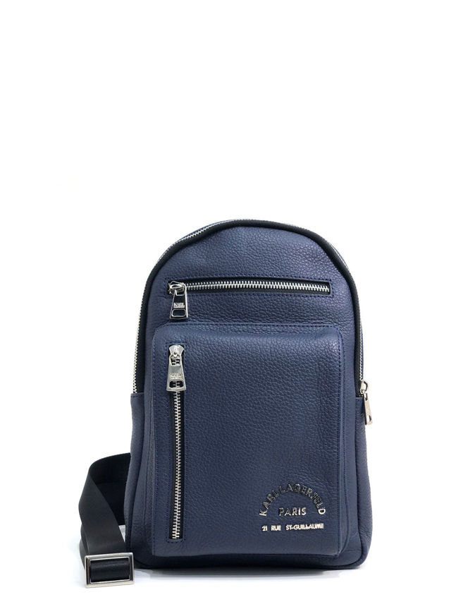 Picture of Karl Lagerfeld Navy Leather Crossbody Bag