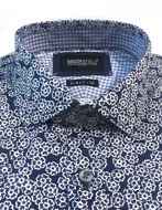 Picture of Brooksfield Navy Floral Print Luxe Shirt