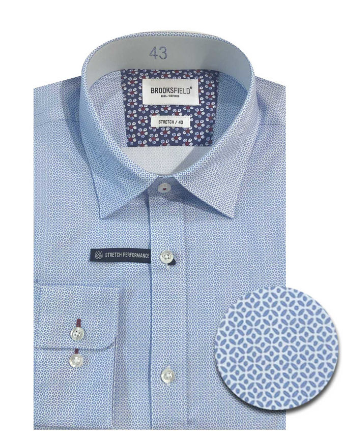 Picture of Brooksfield Blue Geo Pattern Stretch Real Shirt