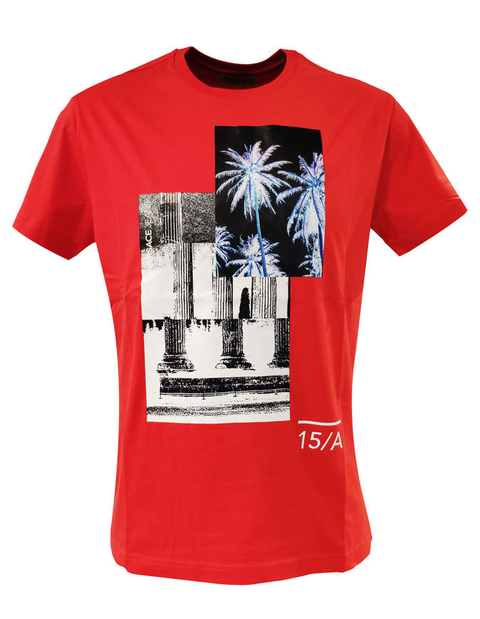 Picture of Versace Jeans Embossed Palm Tree Logo Tee in Red