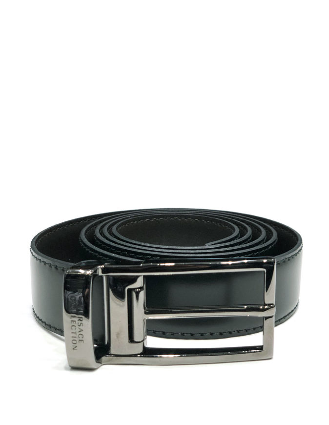 Picture of Versace Reversible Dress Leather Army Green Brown Belt