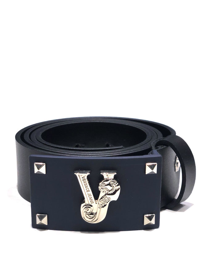 Picture of Versace Jeans Silver Studded Navy Plate Belt